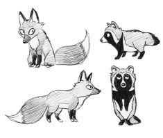 fox and tanuki cartoon character designs by silvercrossfox