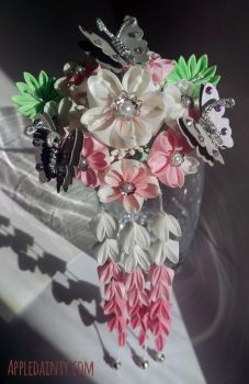 Cherry Kanzashi Cluster Hair Fork by AppleDainty