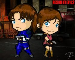 Leon and Claire - RE2 by ClaraKerber