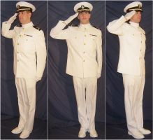 Ryan USNA Dress Whites Salutes by FantasyStock