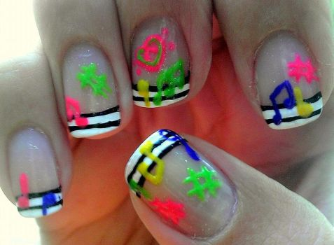 Colorful Music Notes Nail Art by wolfgirl4716
