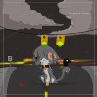 Cat in the Rain? by kitsuneswirl