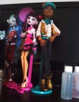 MH Draculaura and Clawd Dolls by mh-maria