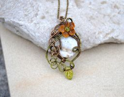 Ocean Jasper with Tiger eye wire wrapped pendant by IanirasArtifacts