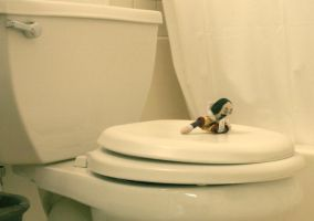 Wet Willy sitting on the toilet in my cabin by Pabloramosart