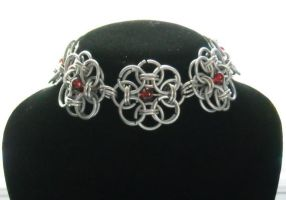Red Flowers Chainmail Choker by poisons-sanity