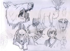 Princess Mononoke Sketches 2 by shiverz