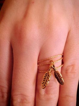 Gold Feather Wire Ring by PerryAlexandra