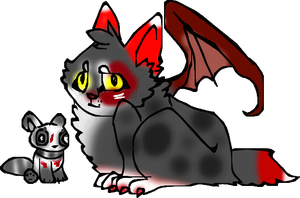 Sammy and wolfy (as a cat dragon thing) by Moracalle