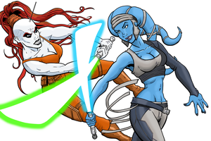 Aayla Secura Vs Aura Sing Redux by MightyFooda