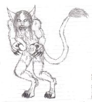 evil werecat by WhiteBlueWerecat