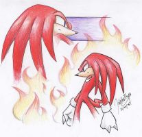 Angered by Fire - Knuckles by goldhedgehog