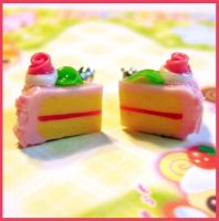 Strawberry Cake Stud Earrings by cherryboop