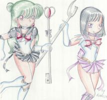 Sailor Pluto and Sailor Saturn by Renee15