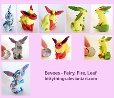 Pokemon  eevee fairy fire ice by Bittythings