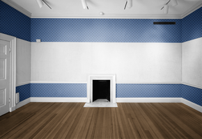 Empty Room - Blue Pattern and White by Quryous