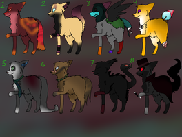 Canine/Wolf Adoptables by Bloody-Bloo