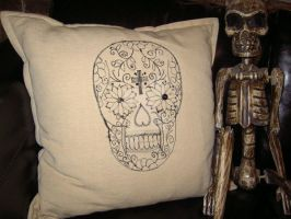 Sugar Skull Cushion by sacredstitches