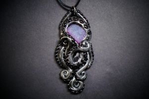 Polymer clay tentacles pendant with pink druzy by dogzillalives