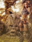 Blonde Warrior Woman and Totem Stones, Fantasy Art by shibashake
