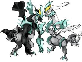 Black Kyurem and White Kyurem by roryrrules123