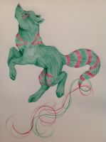 Red and green wolf made with ballpoint pen by AurorynDragon