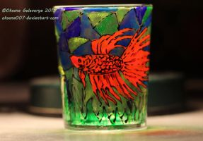 Betta fish -on glass by Oksana007
