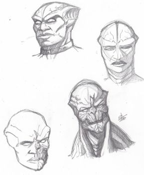J'onn J'onzz and M'gann M'orzz sketches by ConstantScribbles