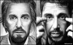 Al Pacino - drawn 5 years apart by Doctor-Pencil