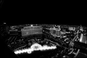 Fountains of Bellagio IV B+W by MarkHumphreys