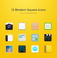 Freebie - 12 Modern Square Rounded Icons by GraphBerry