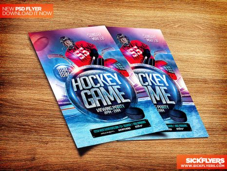 Hockey Match Flyer Template PSD by Industrykidz