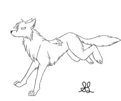 Female Wolf Lineart 2 by angelandadditude