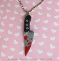 Bloody Knife Necklace by CantankerousCupcake