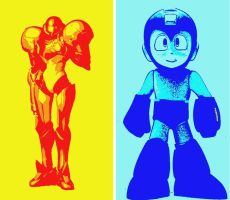 Metroid and Mega Man Pop Art by TheGreatDevin
