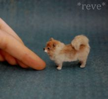 Handmade Pomeranian Dog Miniature Sculpture by ReveMiniatures