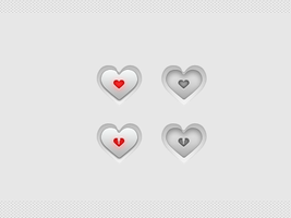 The Heart Buttons PSD by JackieTran