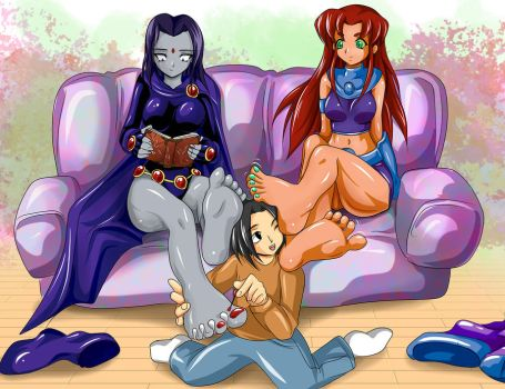 raven and starfire with bane by Cramous