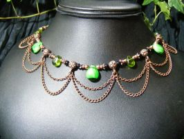 Drops of green with copper drapes by BacktoEarthCreations