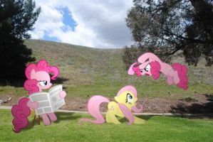 Pinkie Watching Pinkie Attacking Fluttershy by UtterlyLudicrous