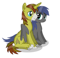 Allen and Silvia: Pegasi hugs by DolphinFox