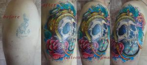 Tattoo - Skull and compass cover up by Xenija88