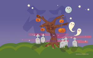 Halloween tree desktop by mllemlesucre