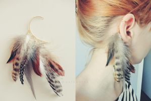 Feather ear cuff by ivyimagery