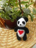 [Sold] Needle Felted Panda Charm by Panda-Devil