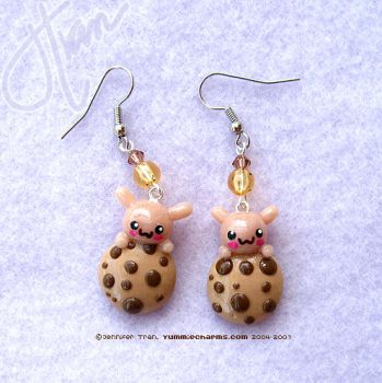 Bunny Cookie Monster Earrings by xlilbabydragonx