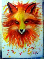 Red fox watercolor painting by PatrissaArt