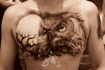 Owl and Moon tattoo by qiangzitattoo