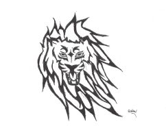 tribal lion tatoo by niobenash