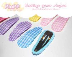Squared hair clips by Fluffntuff